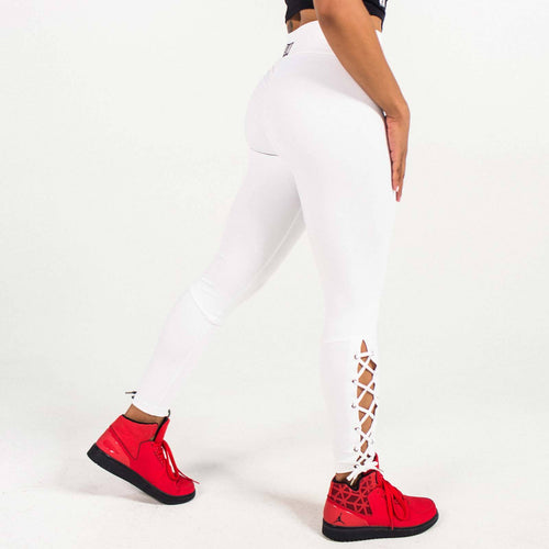 High Waist White Lace-Me-Up Leggings