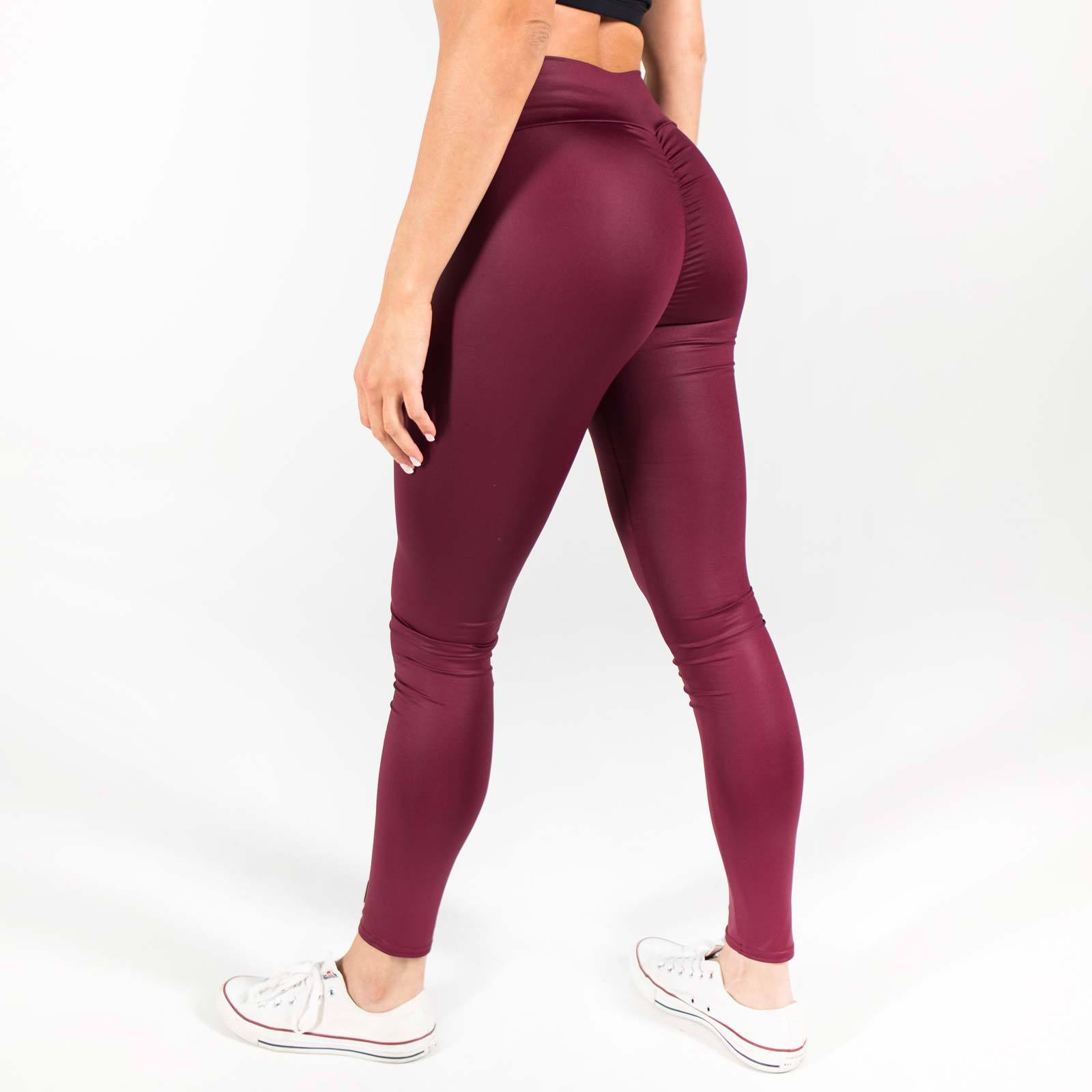 "High Waist ""Zip Me Up"" Wine Leggings"