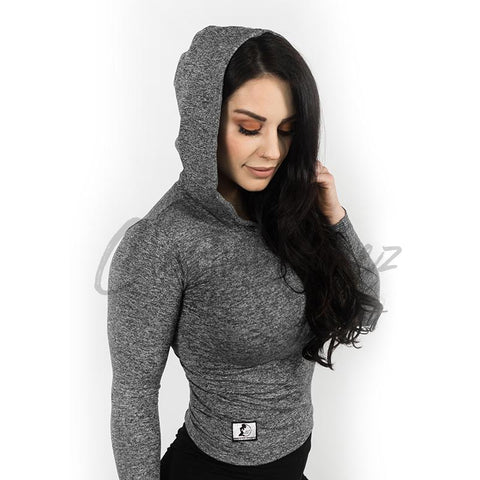 Charcoal Hooded Crop-Top