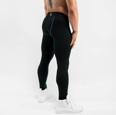 Men's Black Leggings w/ Blue Stitching