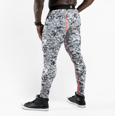 Men's Urban Camo Leggings w/ Orange Stitching