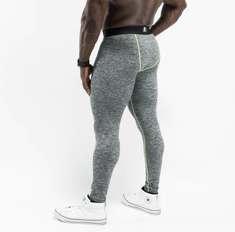 Men's Grey leggings W/ Lime Green Stitching