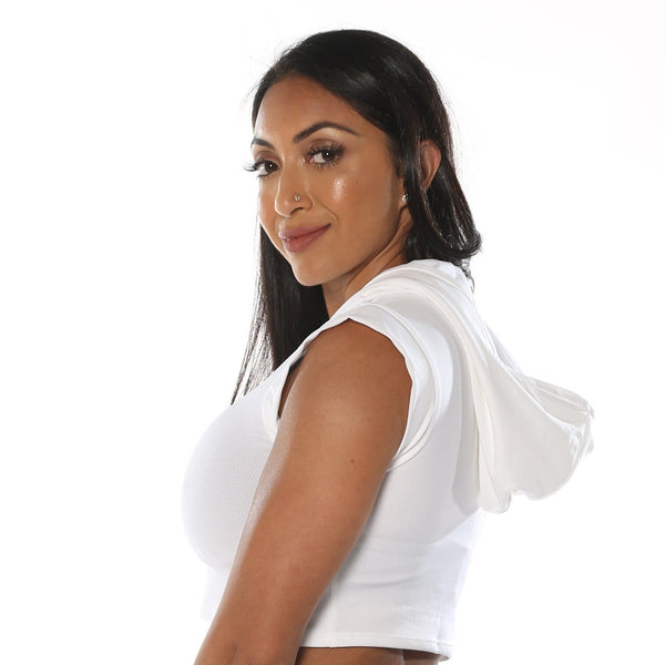 White Mesh Hooded Crop-Top