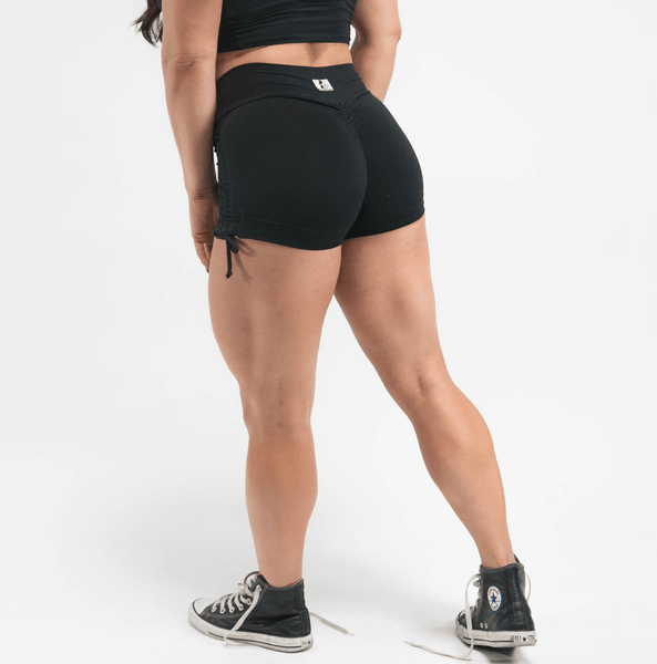 High Waist Lunar Black Shorts w/ Side Scrunch