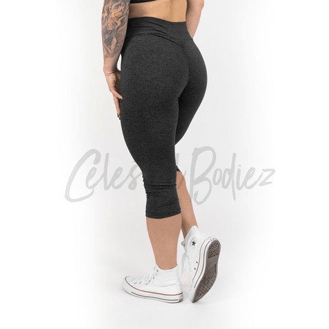 High Waist Charcoal Capri Leggings