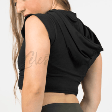 Lunar Black Hooded Crop-Top