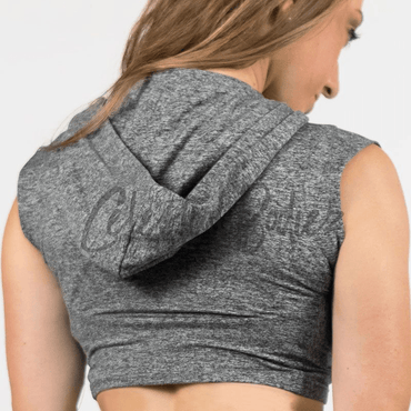 Heather Grey Hooded Crop-Top
