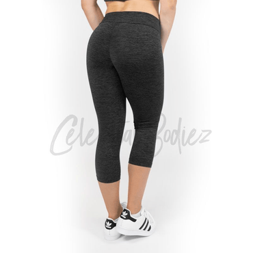 V-Cut Charcoal Capri Leggings