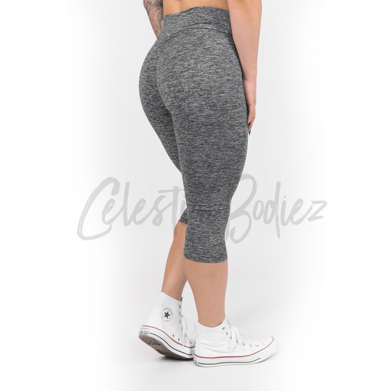 High Waist Heather Grey Capris