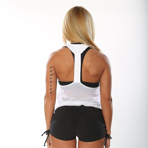 White Mesh Racer-Back Top