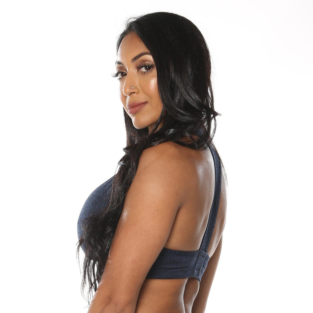 Midnight Navy Blue Heather Sports Bra