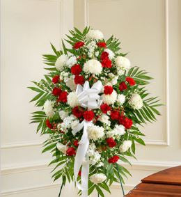 Deepest Sympathies Red & White Standing Spray
