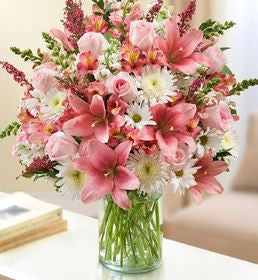 Sincerest Wishes Pink and White Arrangement ~ Donna's Garden