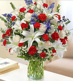Sincerest Wishes Red, White and Blue Arrangement