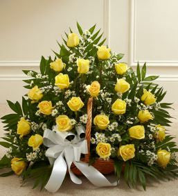 Sincerest Sympathies Rose Fireside Basket - Yellow