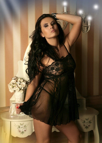 Sexy Lace and Mesh Mix Babydoll Black M-6XL