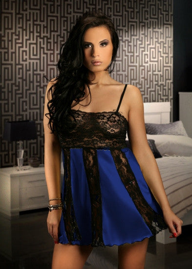 Sexy Lace and Mesh Mix Babydoll Blue M - 6XL