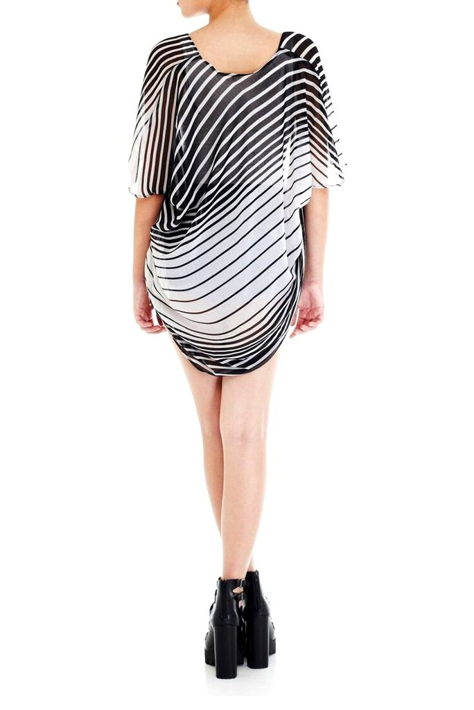 Model wearing short black & white striped chiffon kimono facing back