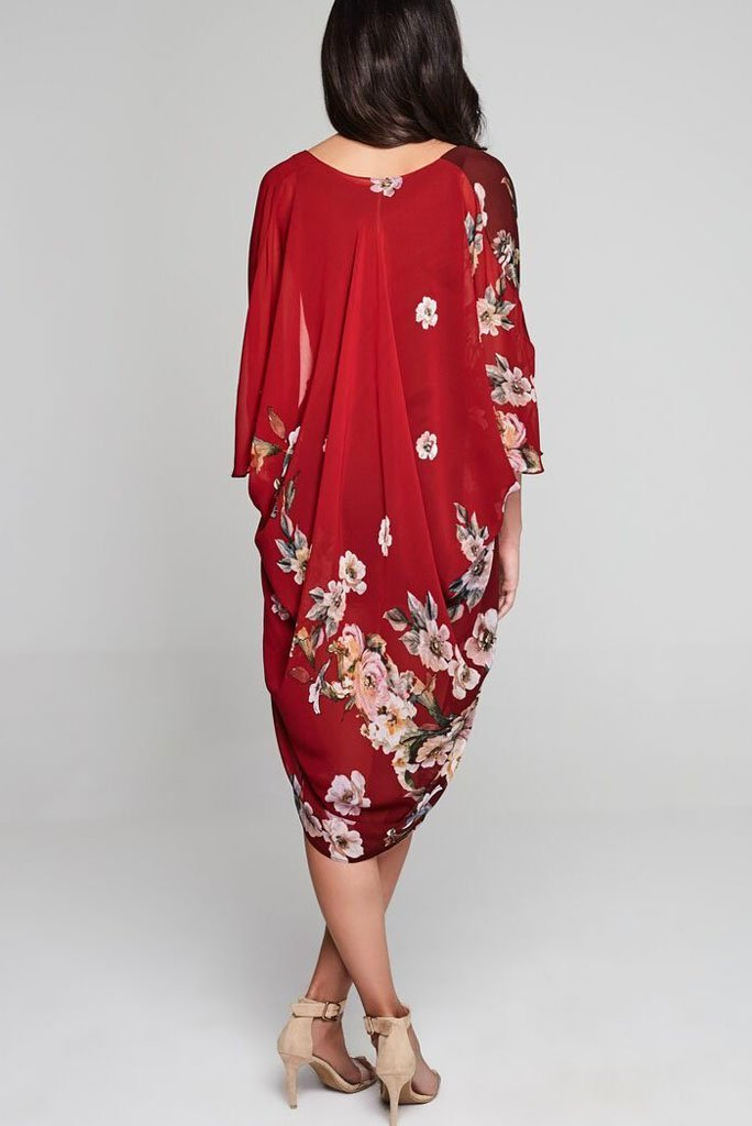 Model wearing red chiffon kimono with floral prints