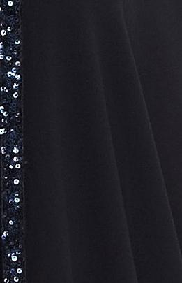 black chiffon fabric with sparkling dark blue sequins
