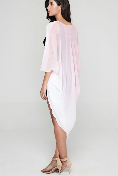 Model wearing pink white ombre chiffon kimono back profile