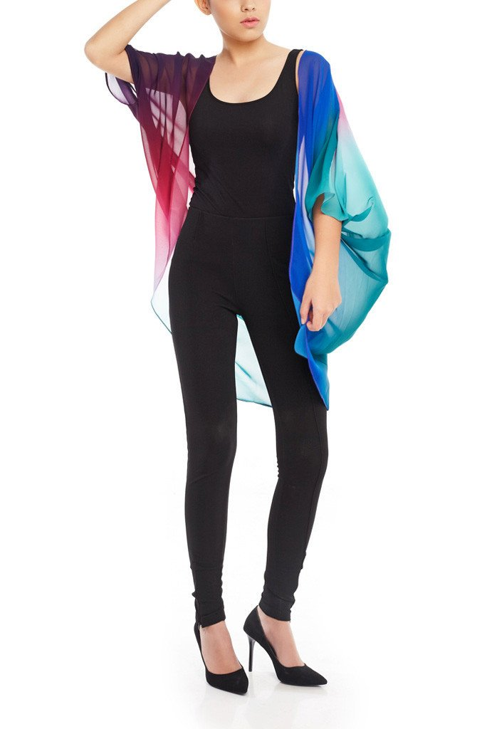Model wearing rainbow chiffon kimono front facing