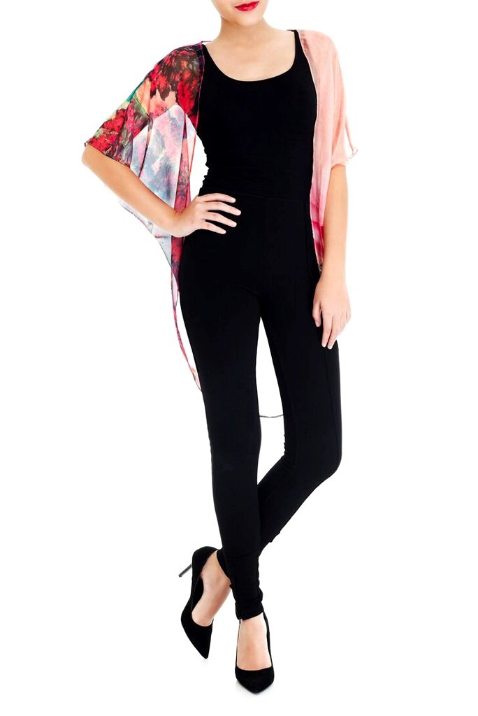 Model wearing short pink kimono with striking ombre print facing forward