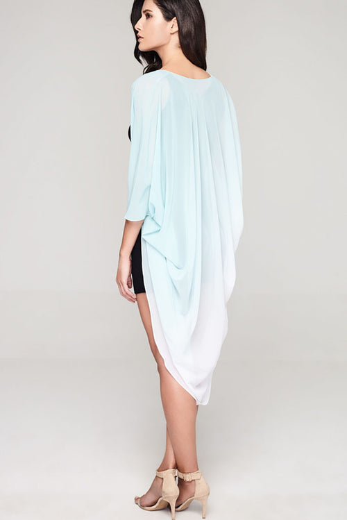 Model wearing white & teal ombre chiffon kimono facing back