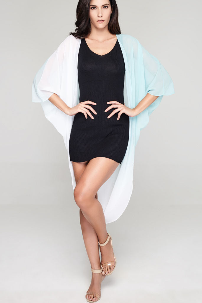 Model wearing white & teal ombre chiffon kimono facing front
