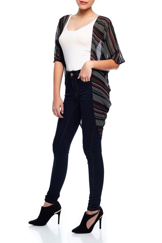 Model wearing short dark colored kimono with stripe prints facing left