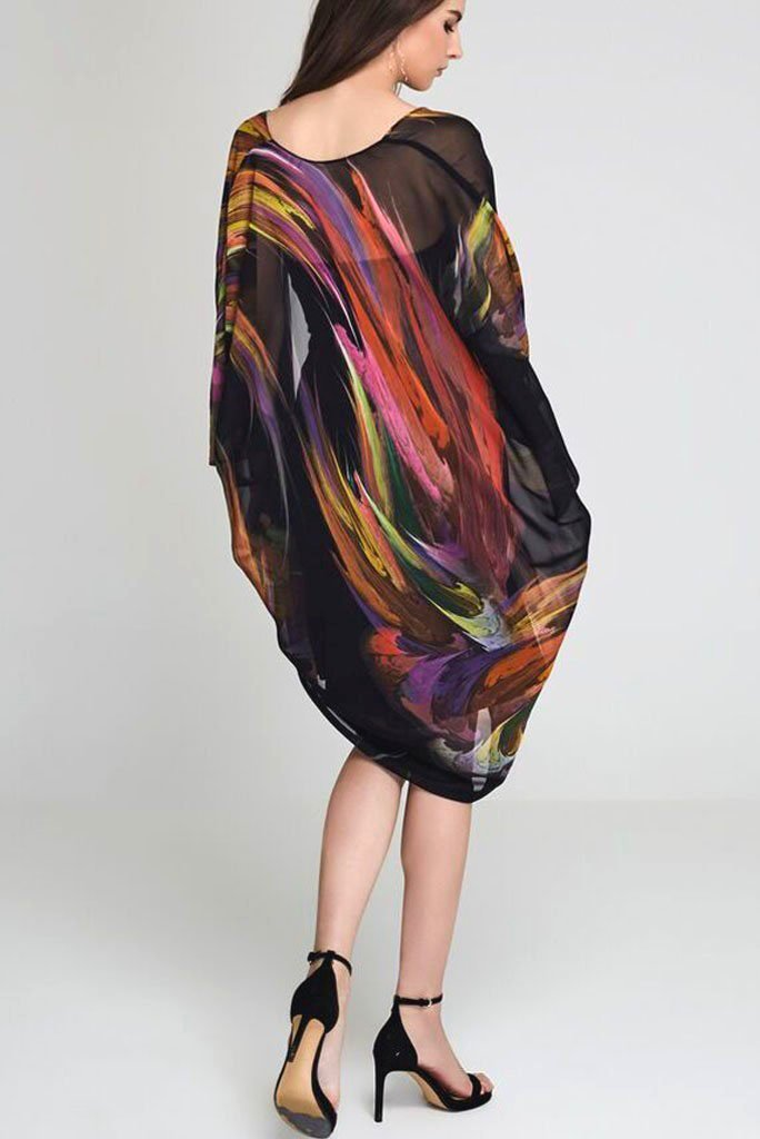 Model wearing black kimono with splashes of color back facing