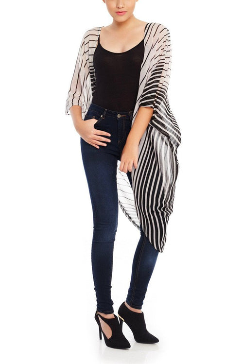 Model wearing black & white striped chiffon kimono front facing