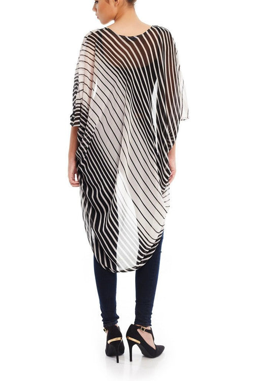 Model wearing black & white striped chiffon kimono back facing