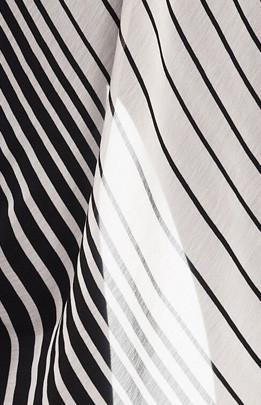 Short black and white striped chiffon fabric