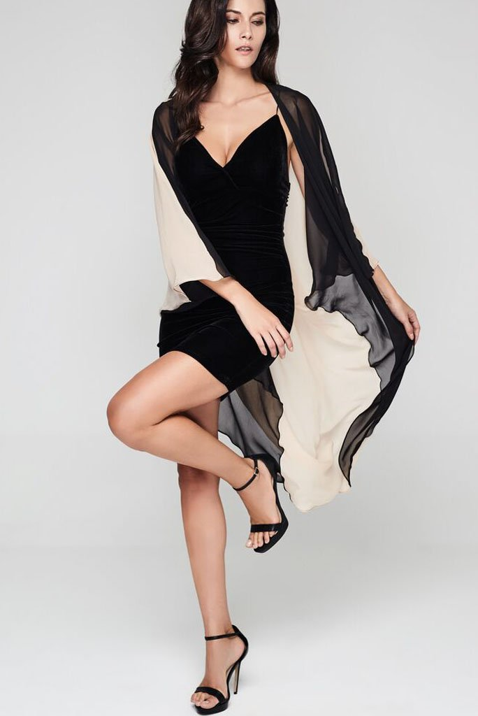 Model wearing 3 paneled black and cream silk kimono front facing