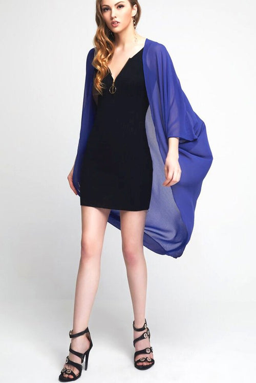 Model wearing berry blue chiffon kimono facing front