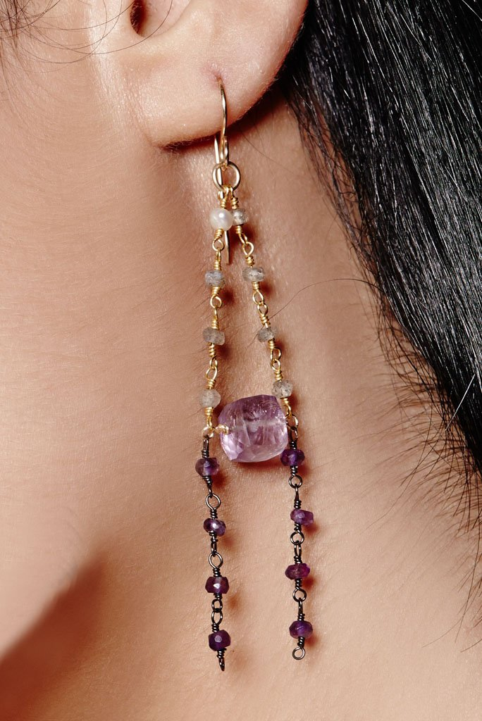 close up of amethyst and cascading dainty gemstone beads.