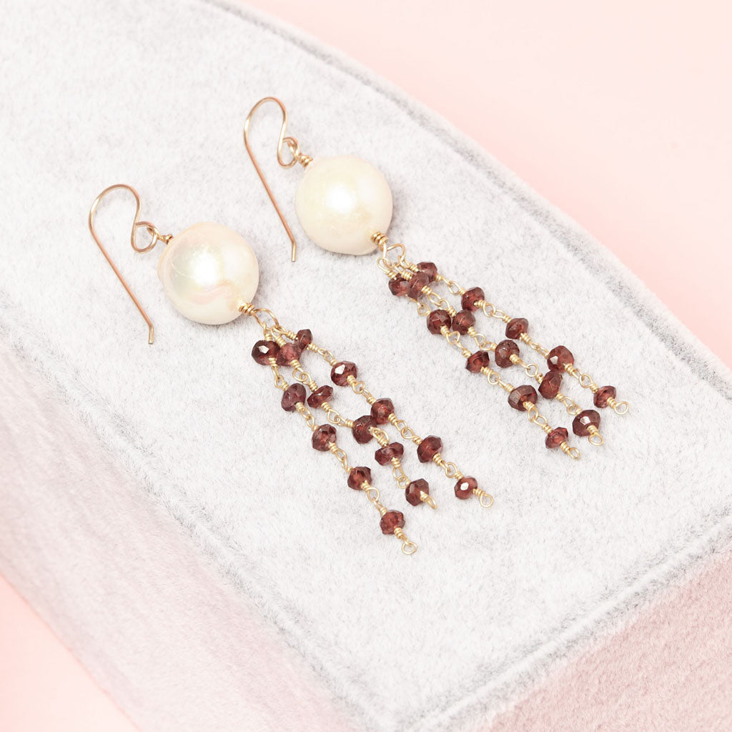 white pearls with dark cherry gemstone beads earrings