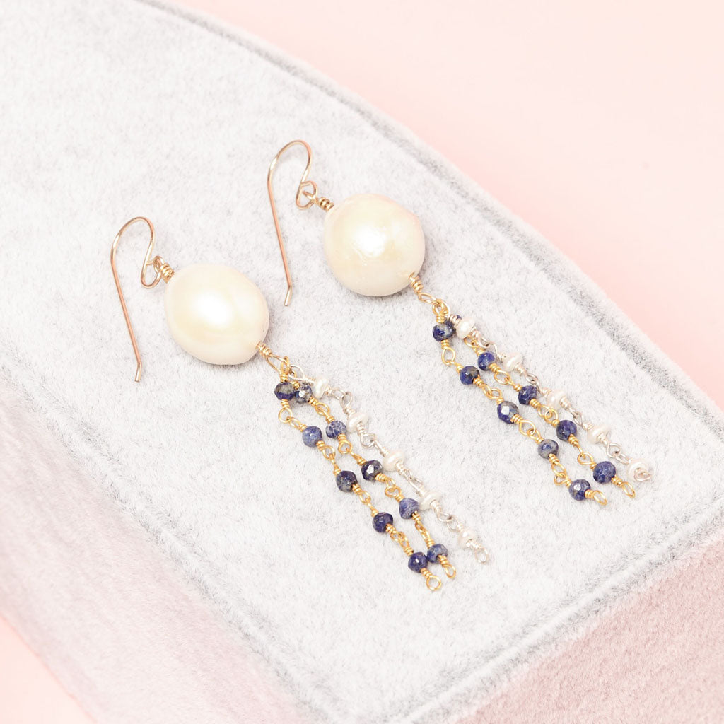 Dazzling white pearls with blue and white gemstone beads earings