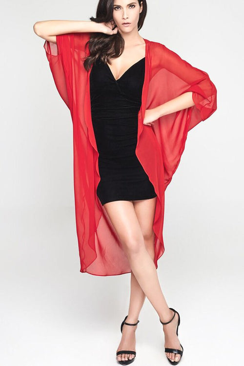 Model wearing 3 paneled red silk kimono
