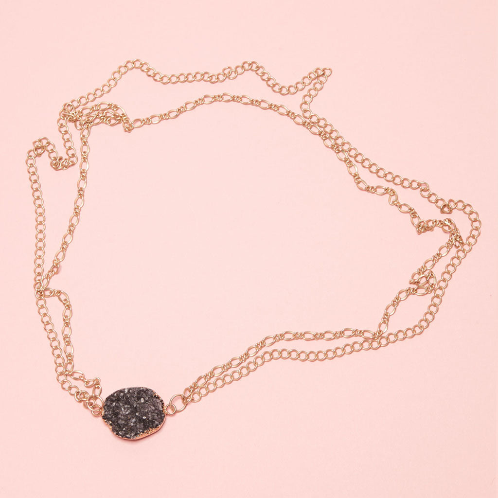 Sparkling druzy held by double interlocking gold plated chains necklace