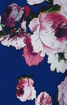 Blue chiffon fabric with floral prints