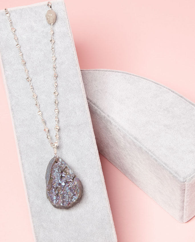 Necklace - multi-faceted grey and copper shades, with sparkling violet-blue speckles on the other
