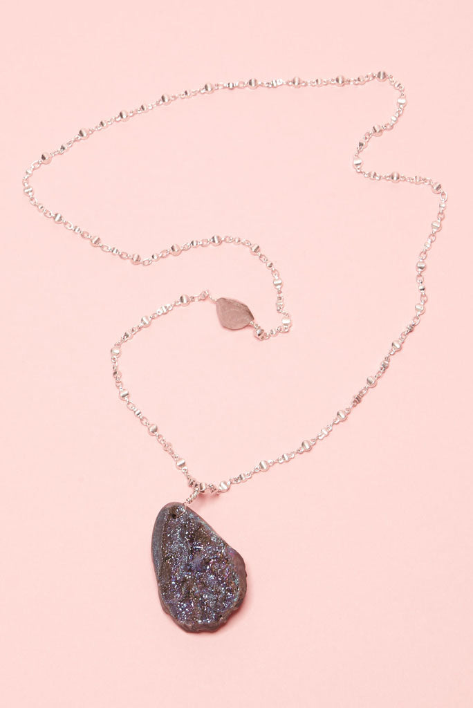 multi-faceted grey and copper shades, with sparkling violet-blue speckles necklace