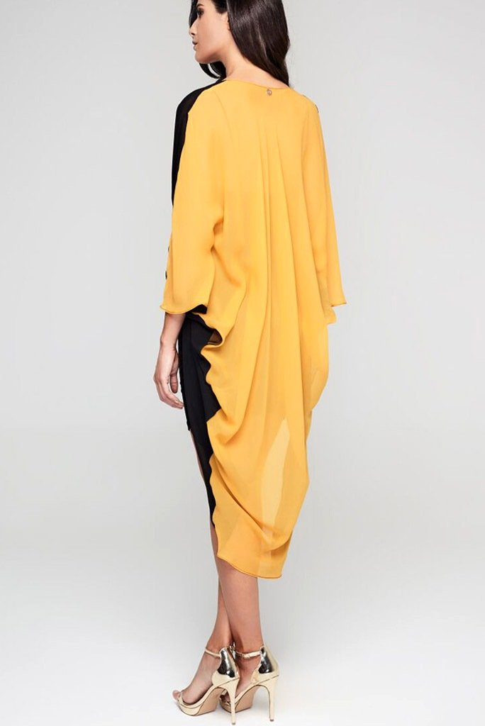 Model wearing 3 paneled black & yellow silk kimono facing back