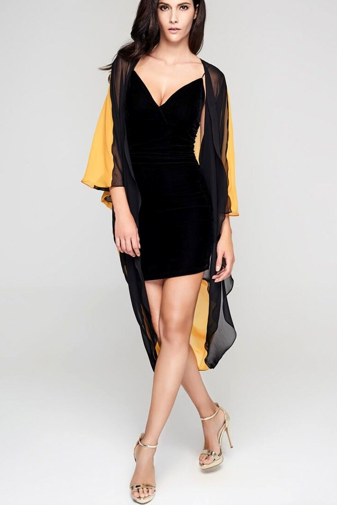 Model wearing 3 paneled black & yellow silk kimono facing front