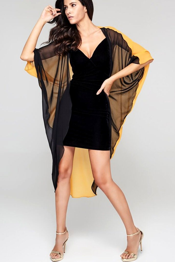 Model wearing 3 paneled black & yellow silk kimono