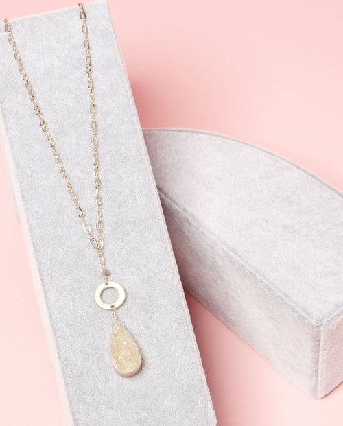 Necklace - sparkling druzy highlighted by gold