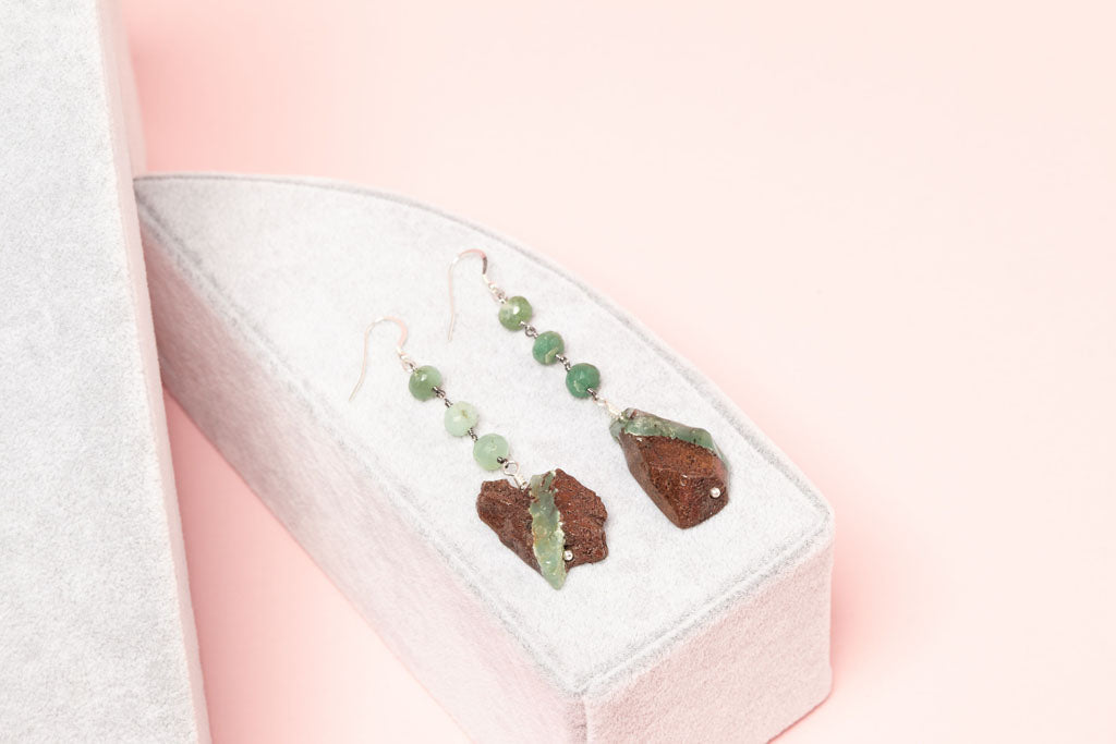 Minty opalescent Chrysoprase cuts across hickory rocks, with matching Chrysoprase orbs earrings on box