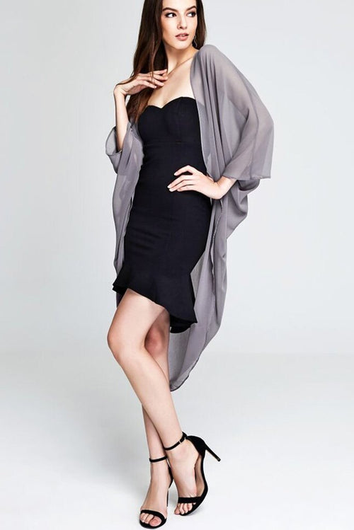 Model wearing grey chiffon kimono facing front